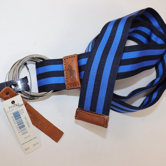 Polo by Ralph Lauren Other - NWT RALPH LAUREN Blue Striped Web D-Ring Belt